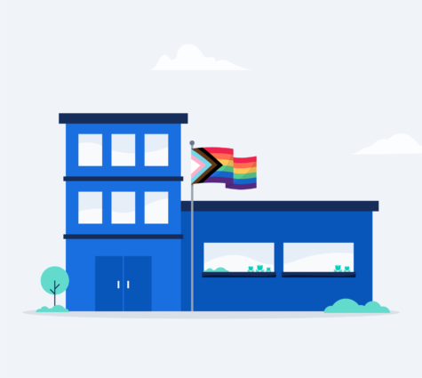Illustration of office building with the Pride flag flying out in front.