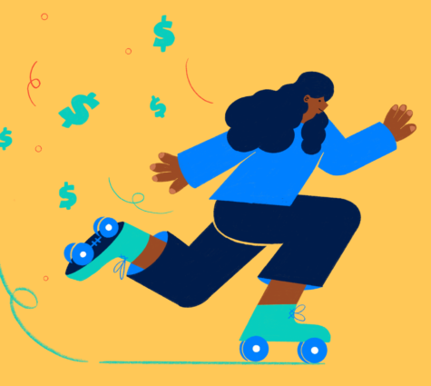 Illustration of young POC woman roller skating with dollar signs floating behind her to represent cash flow mistakes.