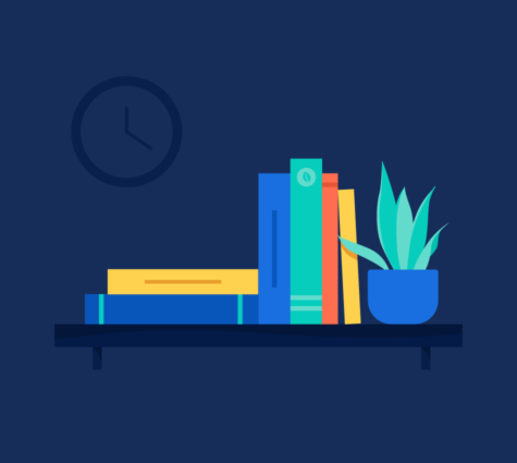 Illustration of books stacked on a shelf with a fern plant beside them | BlueVine